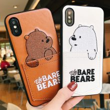We Bare Bears Leather Phone Cases For Iphone X 6 6s 7 8 Plus